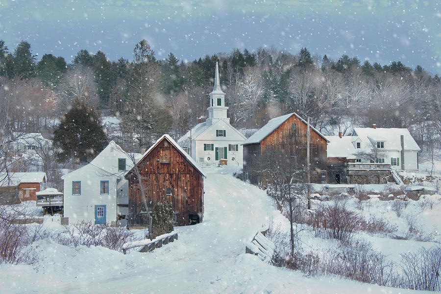 Winter Country Snowfall - Waits River, Vermont by Joann Vitali