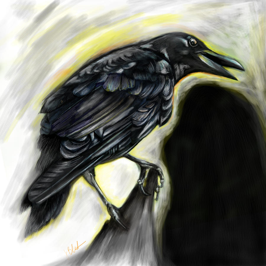 Winter Crow Painting by Julianne Black DiBlasi