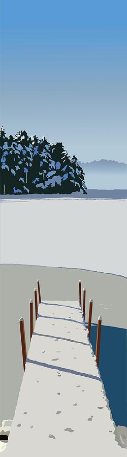 Lake Painting - Winter Dock by Marian Federspiel