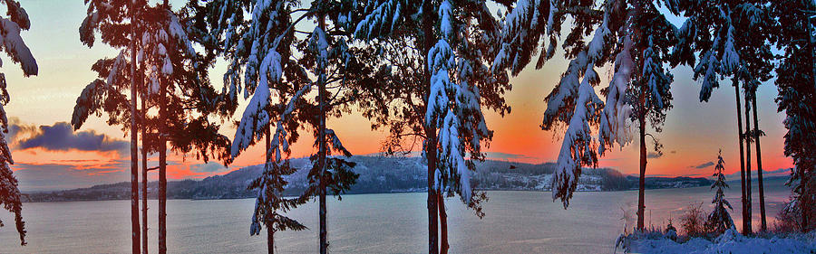 Winter Snow Photograph - Winter Drama Sunrise Panorama by Mary Gaines