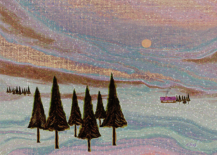 Contemporary Winter Landscape Textured Mountians Sunset Fir Trees Cabin Gordon Beck Art Painting - Winter Dream by Gordon Beck