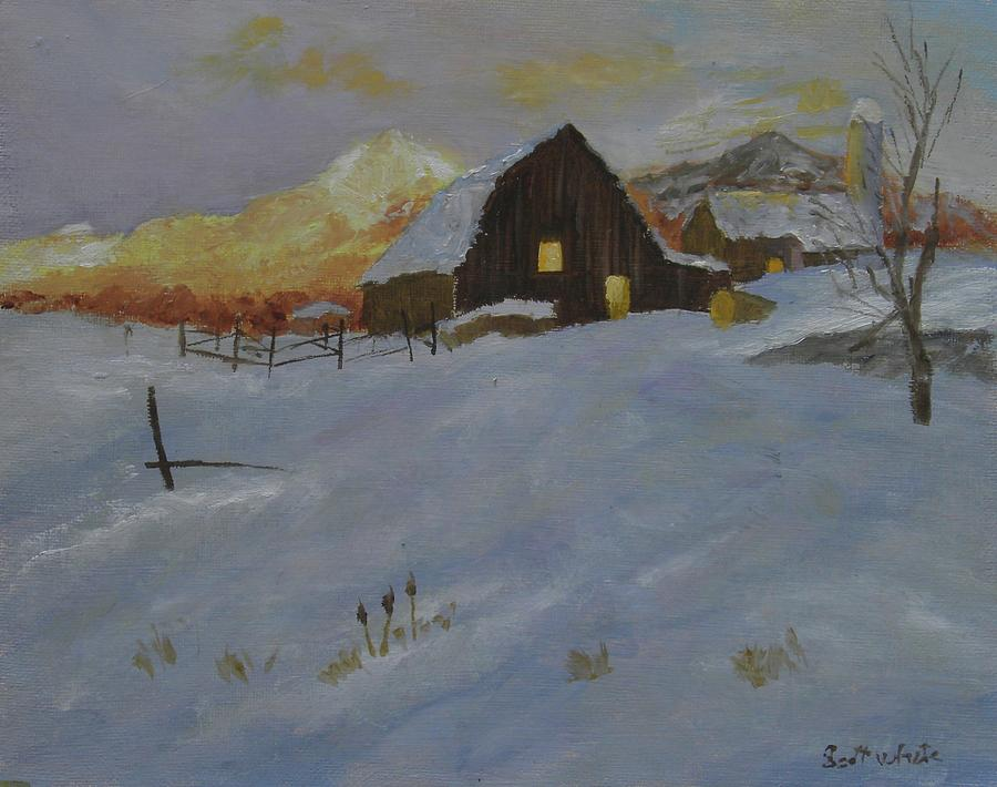 Winter Dusk on the Farm by Scott W White
