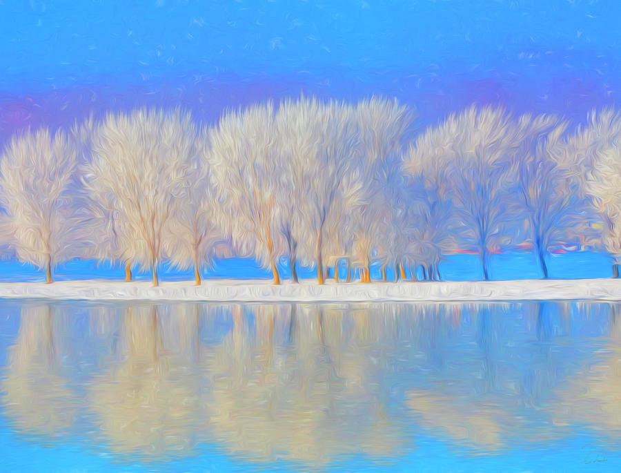Winter Painting - Winter Esplanade Painting Boston, Massachusetts by James Charles