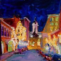 City Street Painting - Winter Exchange St by Elizabeth Fraser