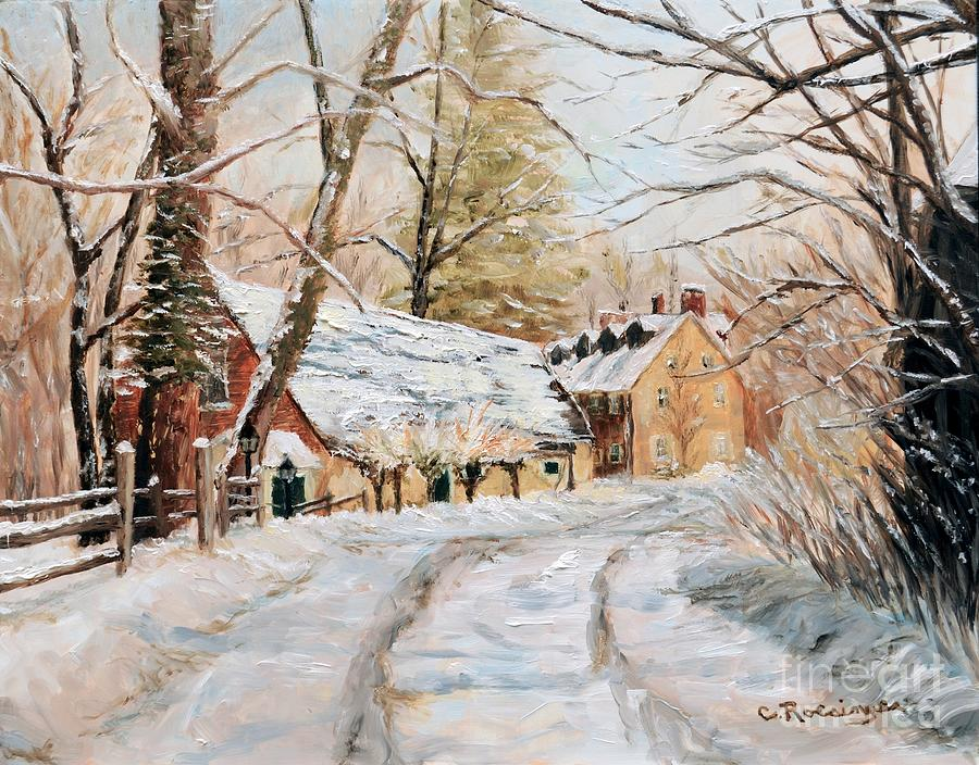 Oil Painting - Winter Falls on Phillips Mill by Paint Box Studio