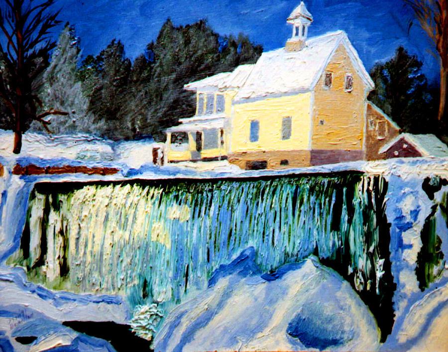 Waterfalls Painting - Winter Falls by Stan Hamilton