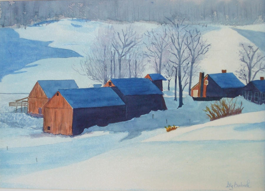 Winter Painting - Winter Farm by Ally Benbrook