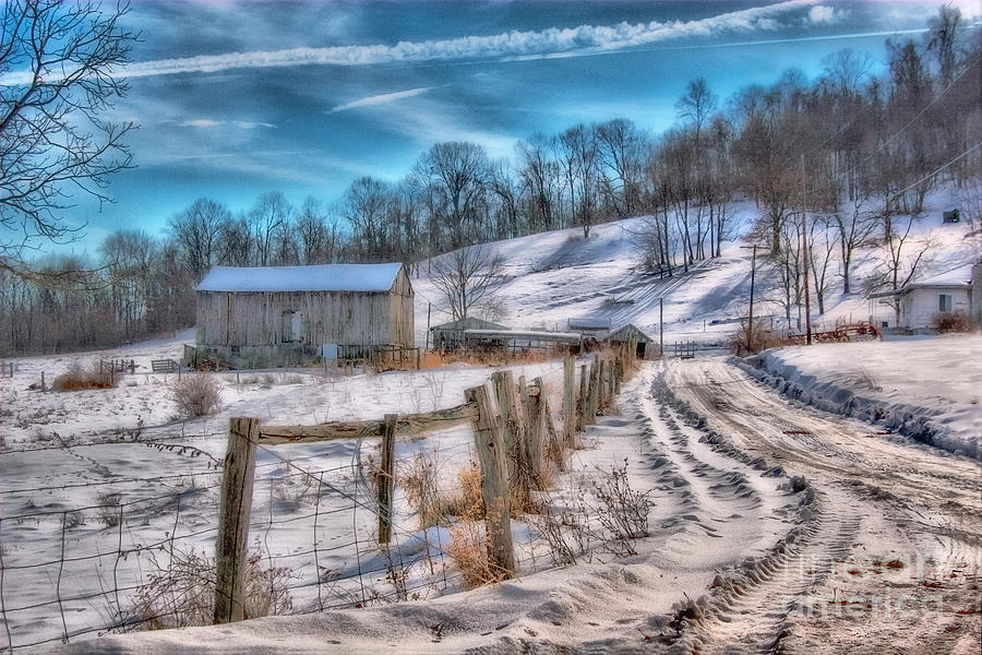 Barn Digital Art - Winter Farm Barn In Snow  by Randy Steele