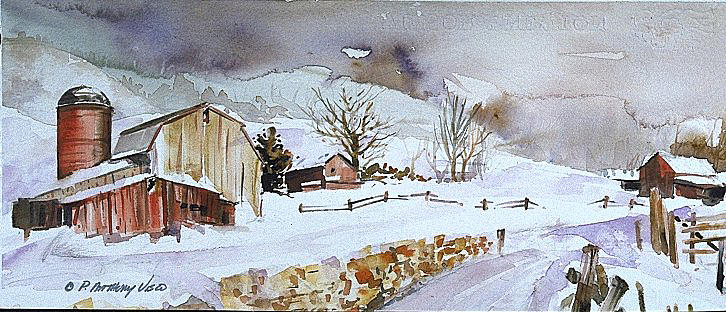 Winter farm country painting by p anthony visco - Winter farm scenes wallpaper ...