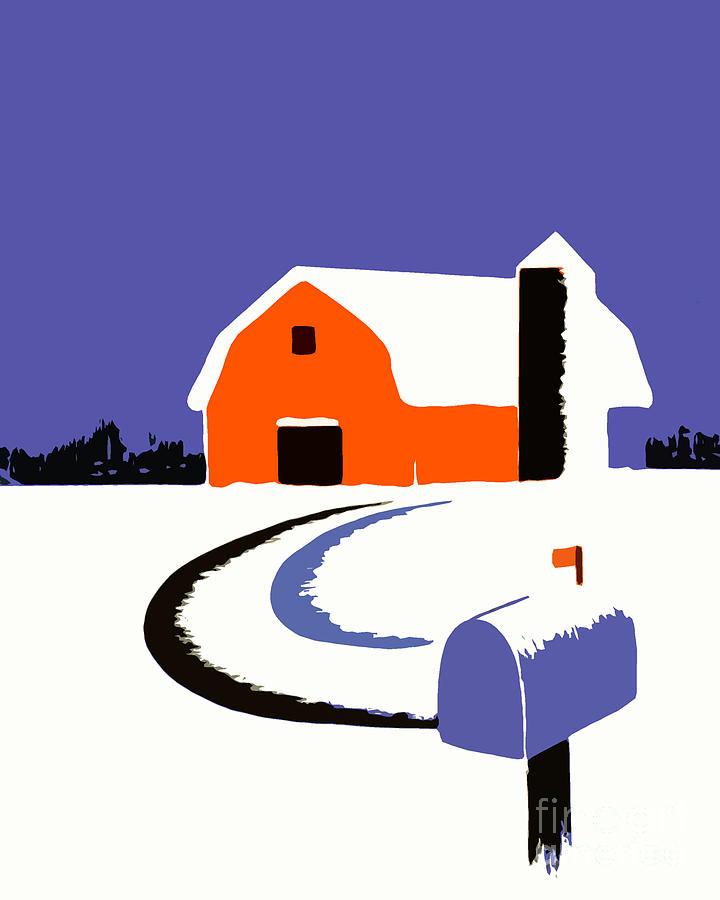 Farm Photograph - Winter Farm Scene Poster Graphic by Edward Fielding