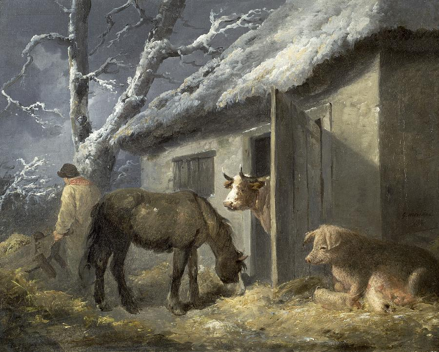 Winter Farmyard Painting By George Morland