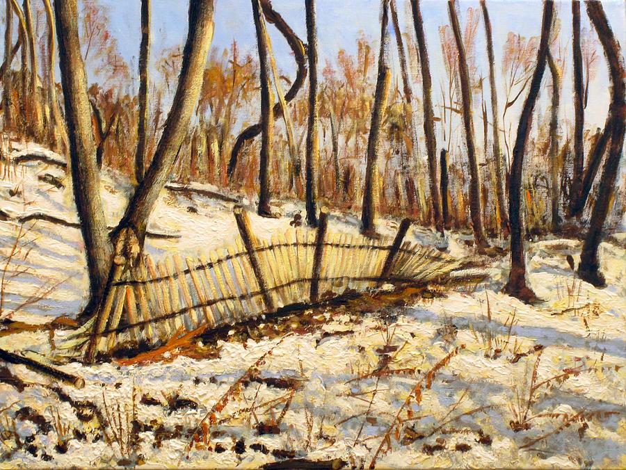 Landscape Painting - Winter Fence by Vladimir Kezerashvili
