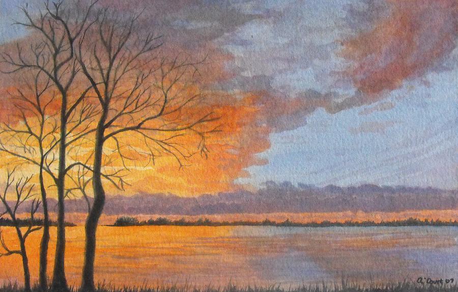 Original Painting - Winter Fire by Lynn ACourt