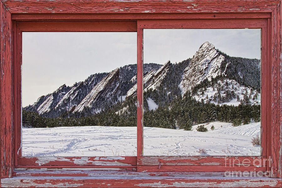 Picture Photograph - Winter Flatirons Boulder Colorado Red Barn Picture Window Frame  by James BO  Insogna