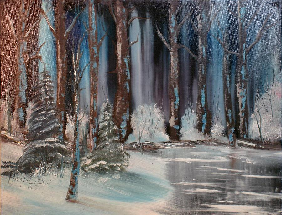 Oil Painting Painting - Winter Forest by Larry Hamilton