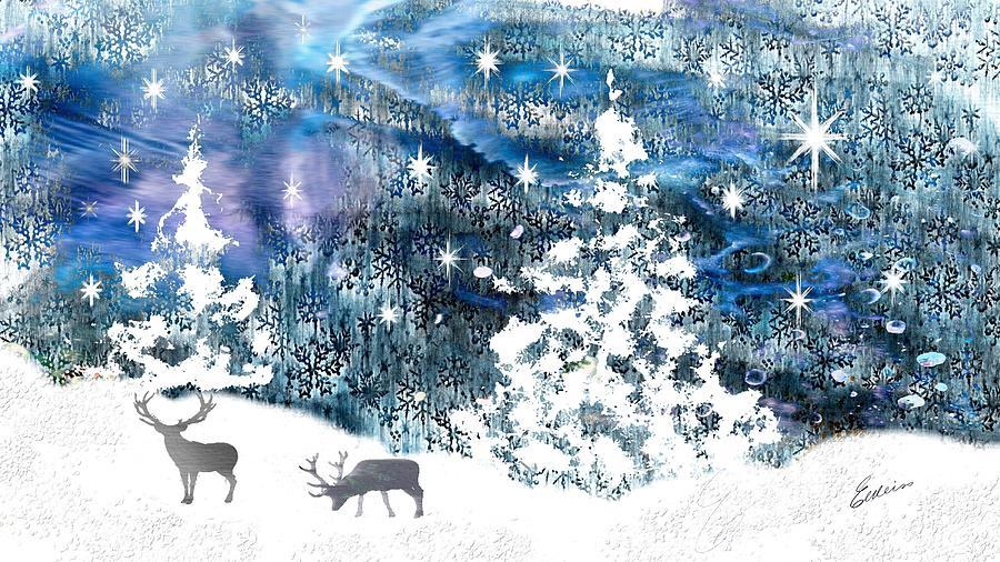 Forest Scene Digital Art - Winter Forest Scene by Elaine Weiss