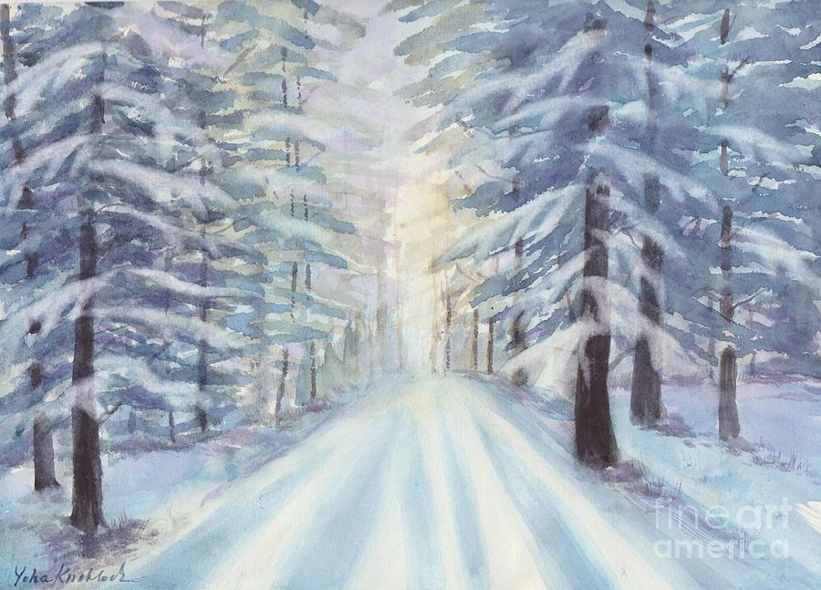 Watercolor Painting Painting - Winter Forest by Yohana Knobloch