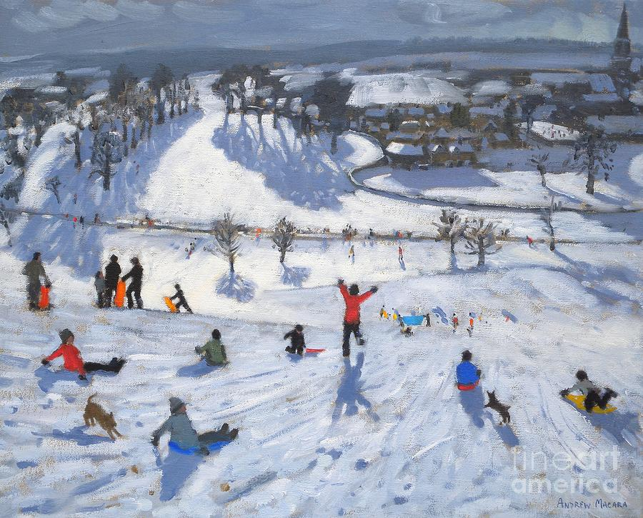 Winter Fun Painting - Winter Fun by Andrew Macara