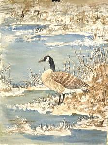 Geese Painting - Winter Geese by Diane Ziemski