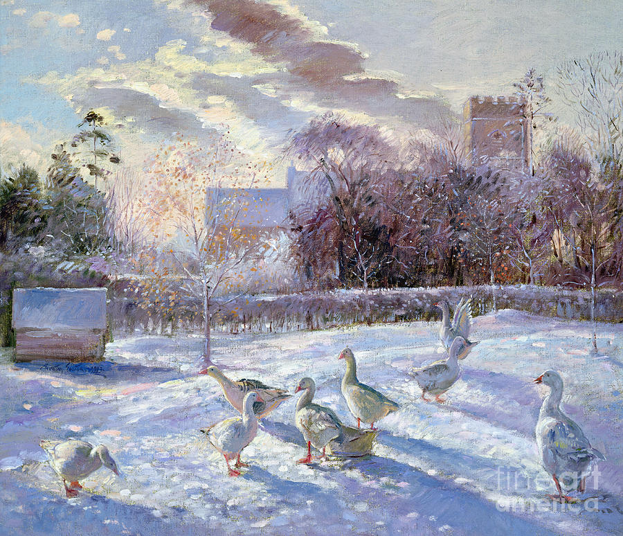 Cold Painting - Winter Geese In Church Meadow by Timothy Easton
