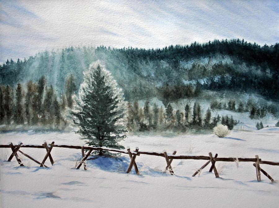 Landscape Painting - Winter Glow by Monika Degan