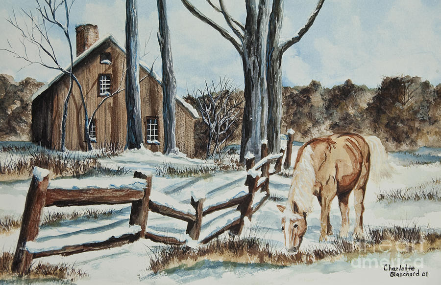 Horse Painting - Winter Grazing  by Charlotte Blanchard