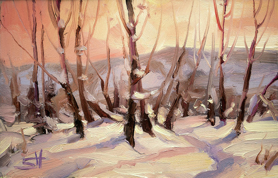 Winter Painting - Winter Grove by Steve Henderson