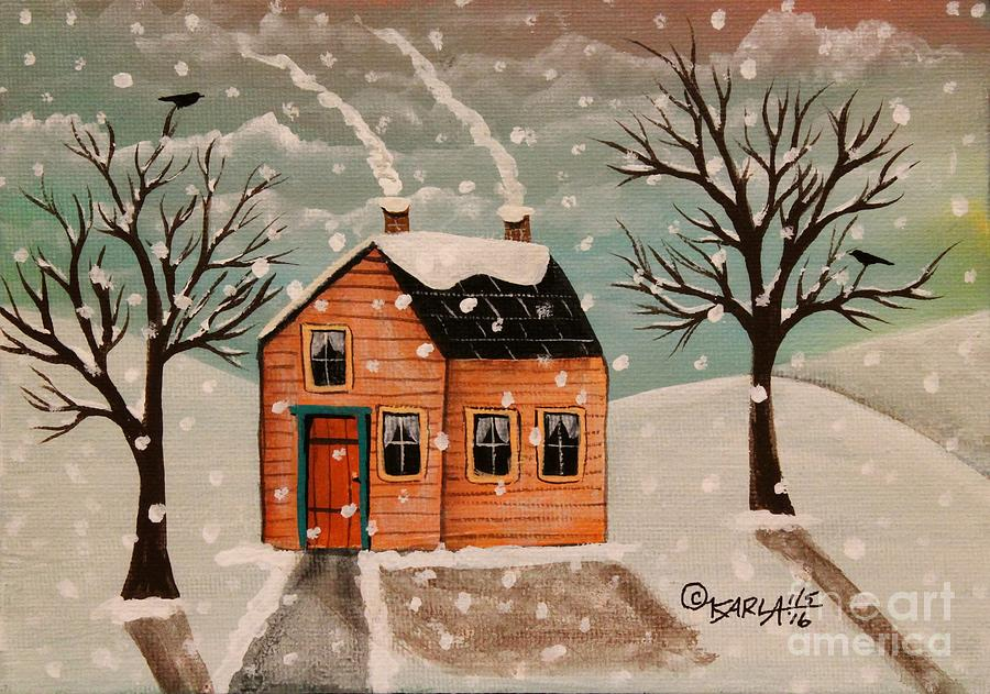 Landscape Painting - Winter House by Karla Gerard