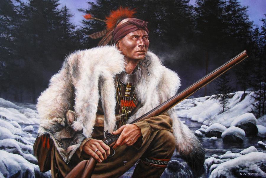 Indian Painting - Winter Hunter  by Dan  Nance