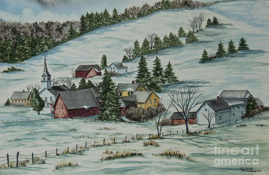 Vermont Painting - Winter In East Chatham Vermont by Charlotte Blanchard