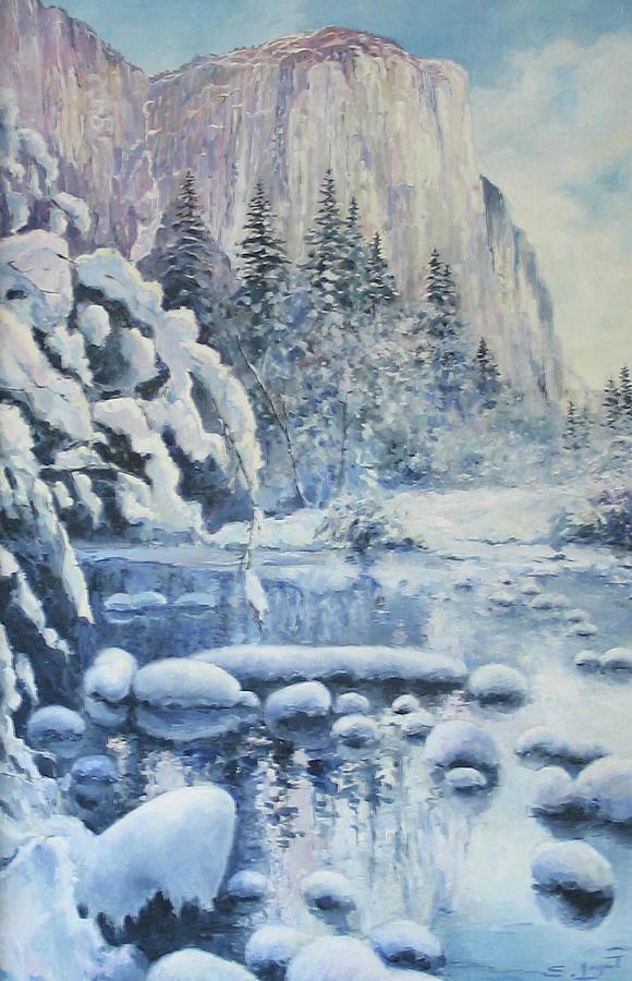 Winter In El Capitan Painting - Winter In El Capitan by Tigran Ghulyan