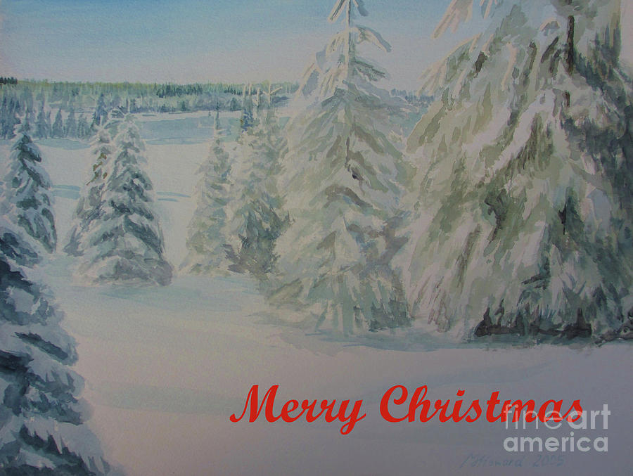 Winter Landscape Painting - Winter In Gyllbergen Merry Christmas Red Text by Martin Howard