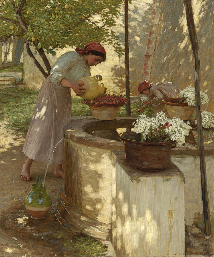 Girl Painting - Winter In Liguria by Henry Herbert La Thangue