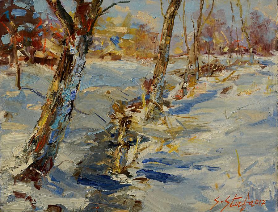 Landscape Painting - Winter In Mat by Sefedin Stafa