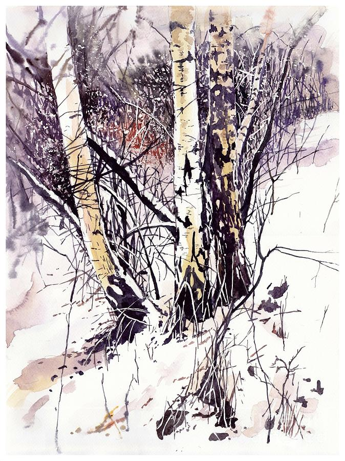 Winter Painting - Winter In The Forest by Suzann Sines