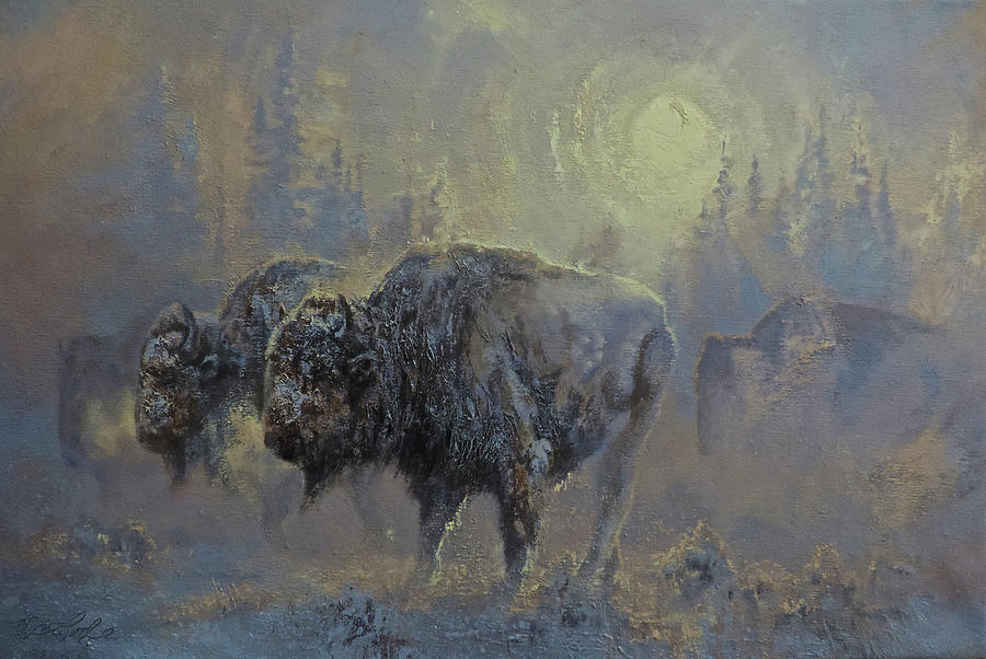 American Bison Painting - Winter In Yellowstone by Mia DeLode