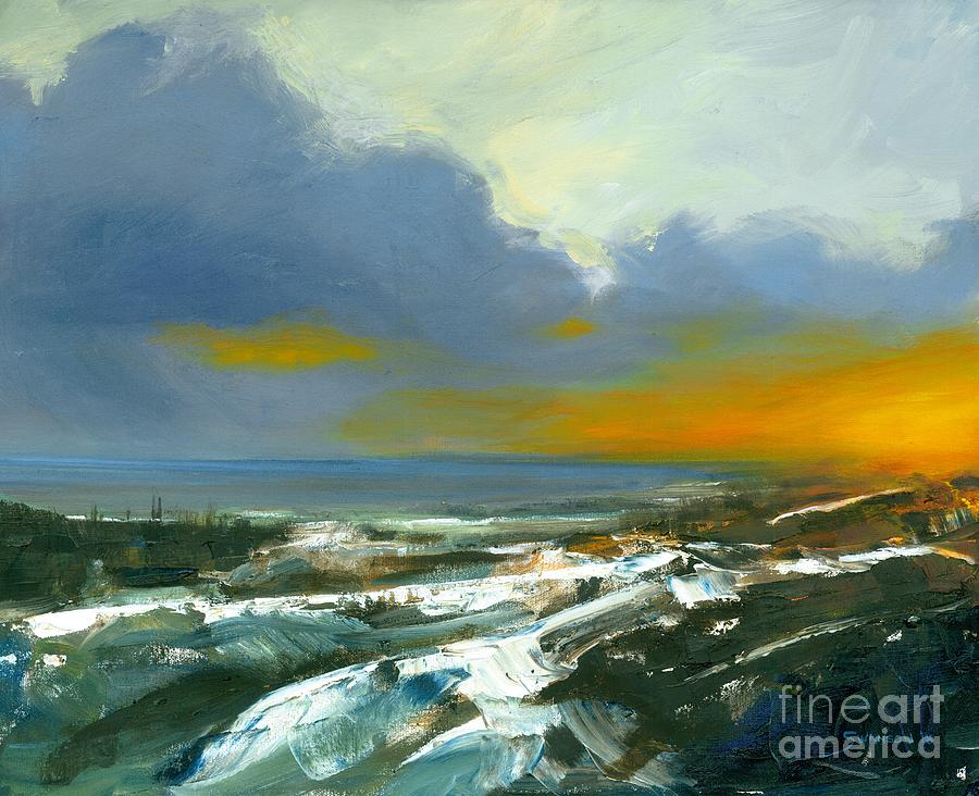 Sunset Painting - Winter Lake View by Michael Swanson