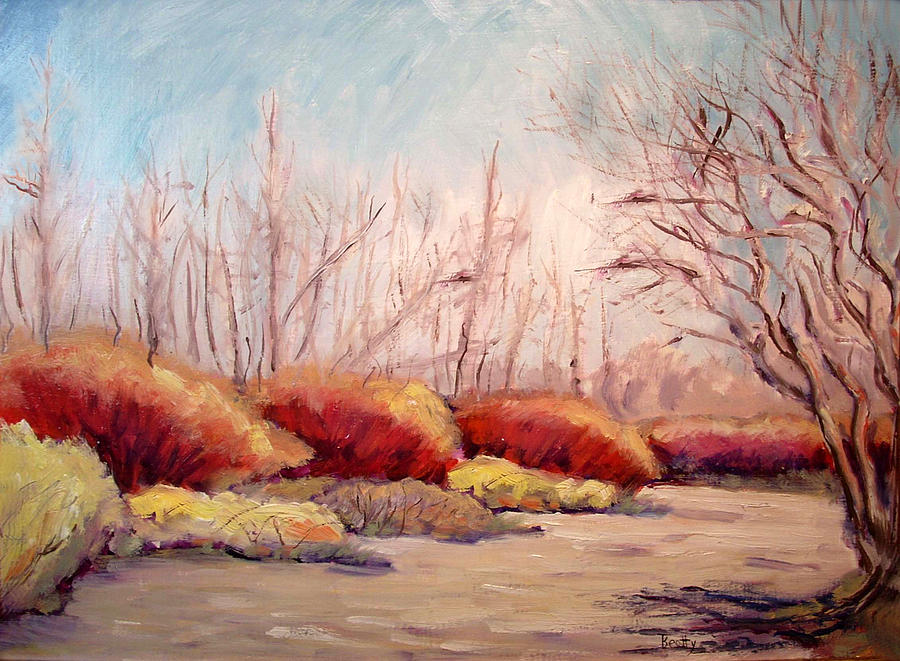 Winter Painting - Winter Landscape Dry Creek Bed by Karla Beatty