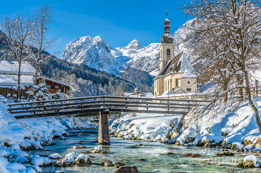 Winter Landscape In The Bavarian Alps With Church, Ramsau ...