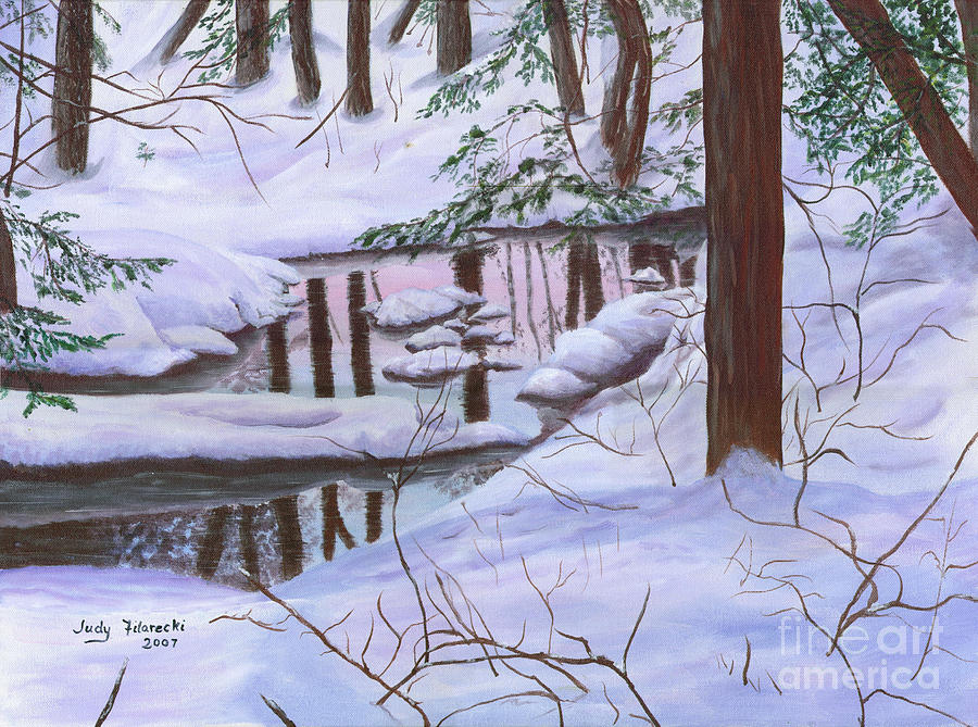 Winter Landscape Painting - Winter Landscape by Judy Filarecki