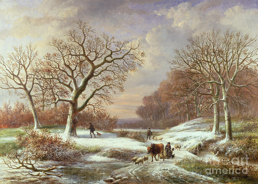 Winter Painting - Winter Landscape by Louis Verboeckhoven