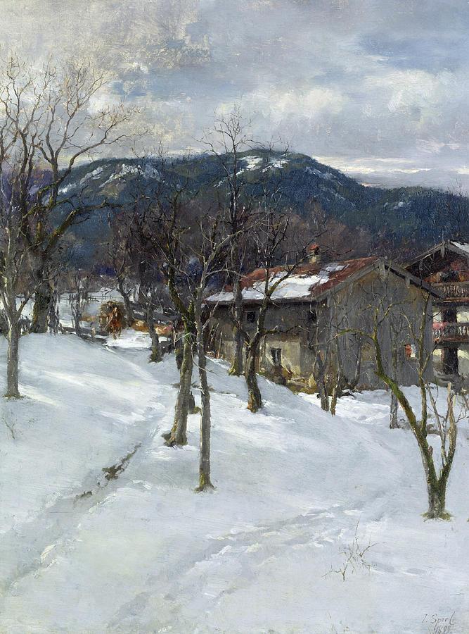 Winter Painting - Winter Landscape Near Kutterling by Johann Sperl