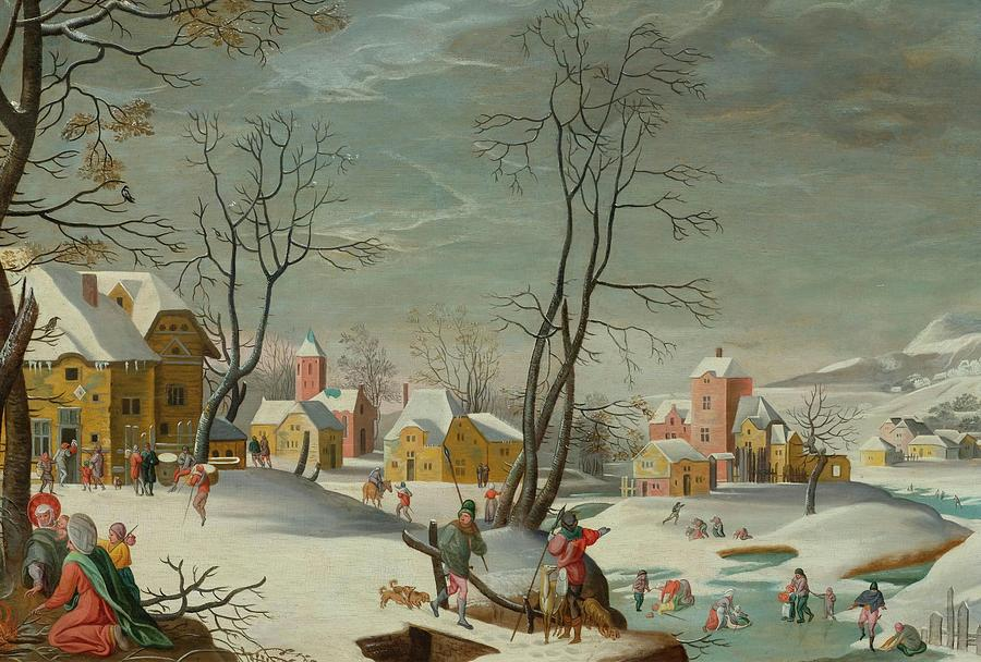 Grimmer Painting - Winter Landscape Of A Village by MotionAge Designs