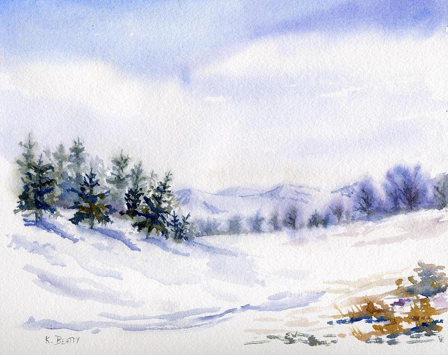 Winter Painting - Winter Landscape Snow Scene by Karla Beatty