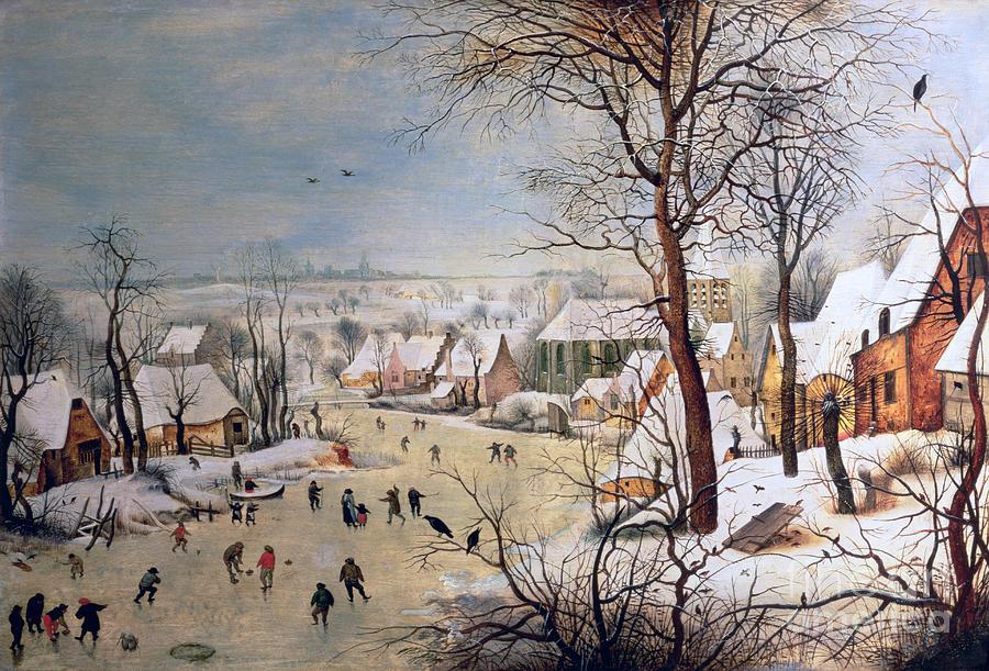 Winter Painting - Winter Landscape With Birdtrap by Pieter the elder Bruegel