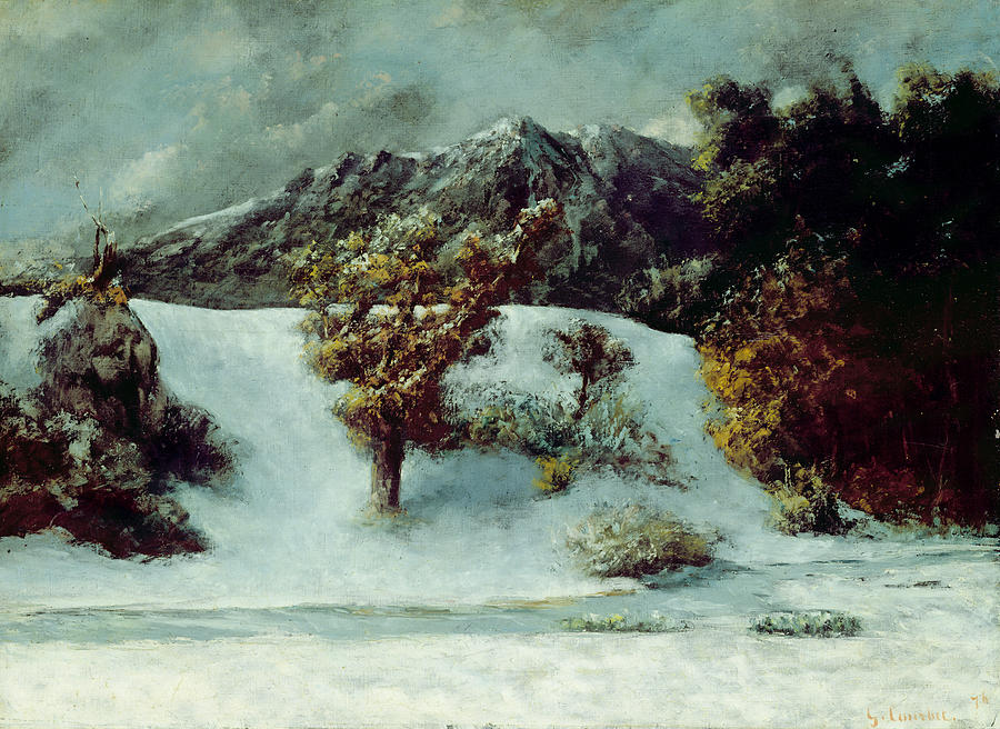 Winter Painting - Winter Landscape With The Dents Du Midi by Gustave Courbet