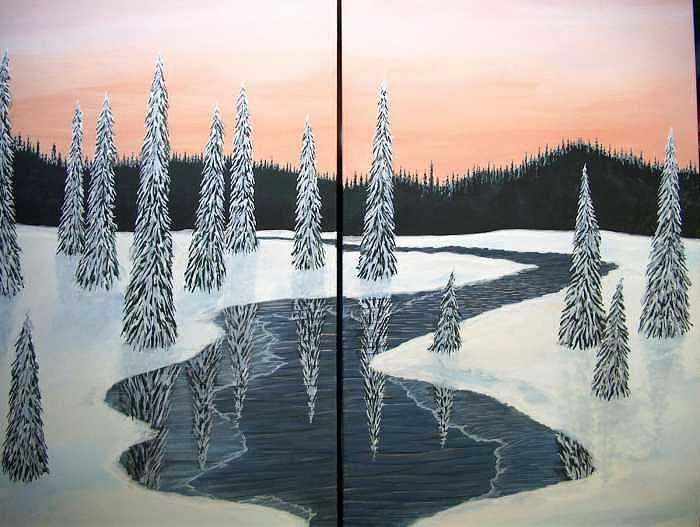 Forest Painting - Winter Light   Two Canvas Set by Cedric Colond