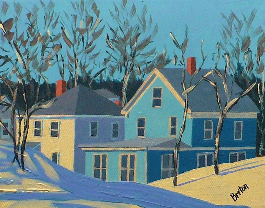 Cityscape Painting - Winter Linden Street by Laurie Breton