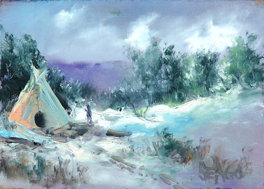 Winter Lodge Painting by Sally Seago