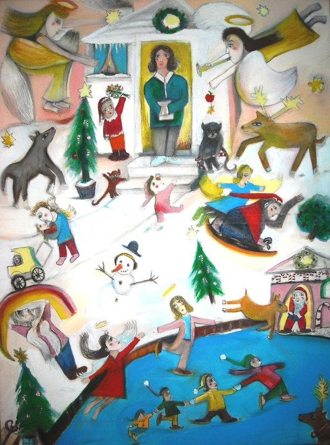 Children Playing Painting - Winter Memory by Ward Smith